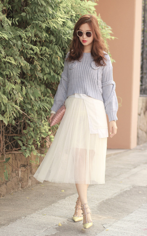 mellow mayo sunglasses sweater belt skirt bag shoes