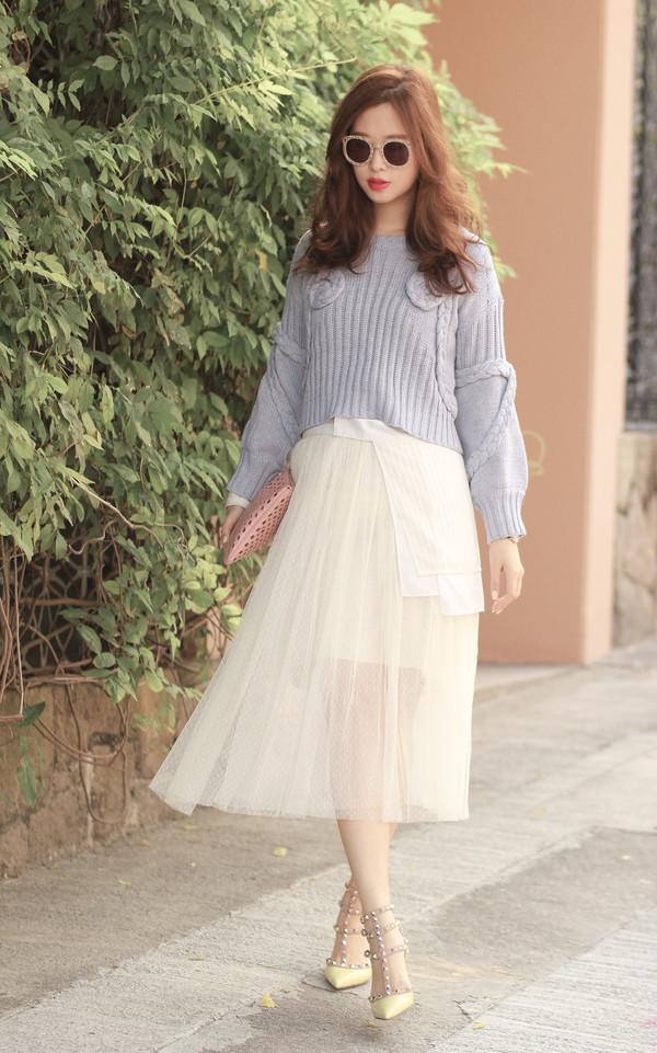 mellow mayo sunglasses sweater belt skirt bag shoes
