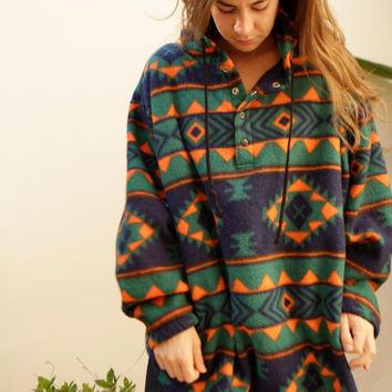 90s SLOUCHY ikat style parka SOUTHWEST oversize large FLEECE sweatshirt jacket on Wanelo