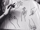 shirt,hands black and white,harry styles,hands,cigarette,t-shirt,black and white,top,hands tshirt tumblr pinterest,graphic tee,hand,white shirt