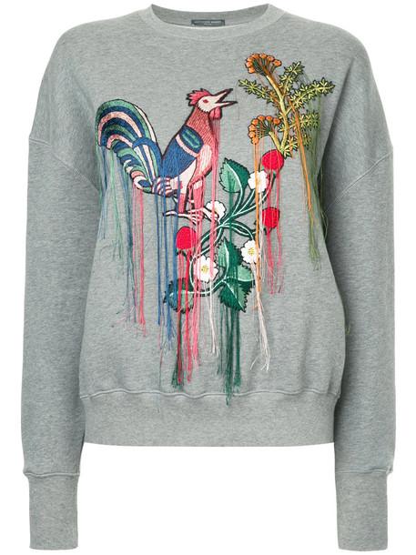 Alexander McQueen - embroidered sweatshirt - women - Cotton - 40, Grey, Cotton