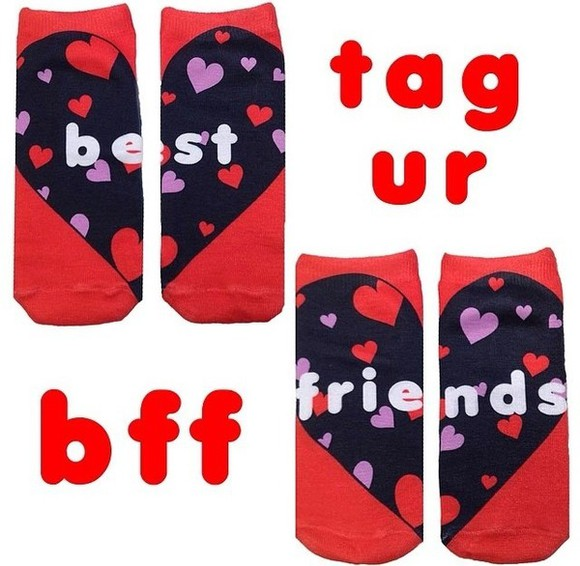 hearts underwear socks bff's