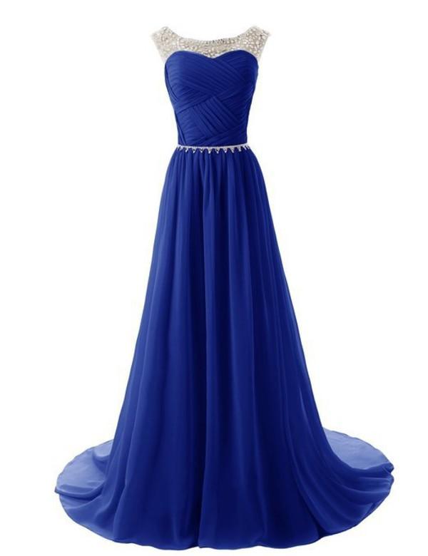 Dress: royal blue prom dress, chiffon prom dress, 2015 prom dress ...