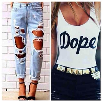 jeans shirt shoes dope swimsuit bodysuit white top