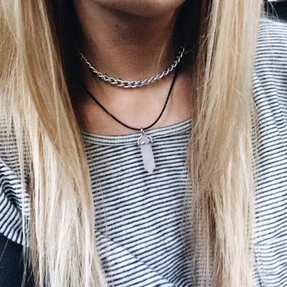 jewels grunge hipster necklace t-shirt boho crystal necklace silver necklace grunge jewelry stone necklaces silver choker hipster jewelry pastel grunge quartz