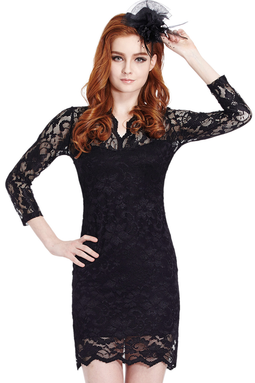 ROMWE | ROMWE Scallop Neck Lace Black Bodycon Dress, The Latest Street Fashion