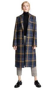 coat,long coat,long,plaid,blue,brown