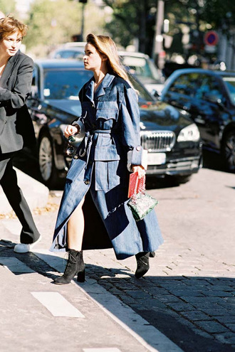 vanessa jackman blogger jacket jeans belt streetwear coat tumblr blue coat denim coat blue long coat long coat patchwork boots black boots ankle boots miroslava duma streetstyle