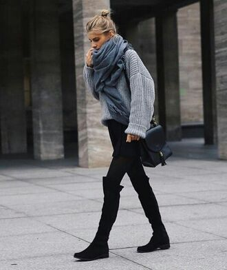 shoes grey scarf black over knee boots black bag blogger grey oversized sweater