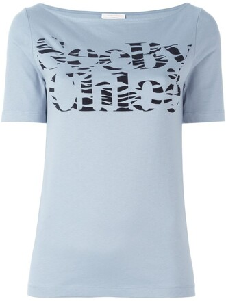 t-shirt shirt print blue top