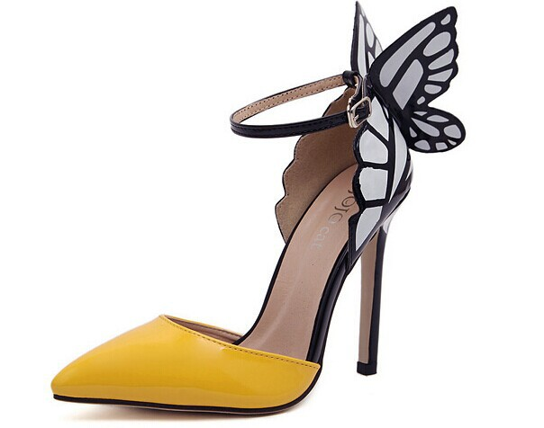 Europe and the United States Sophia vampire diaries butterfly wings patent leather women with pointy shoes 2 big size 40-in Pumps from Shoes on Aliexpress.com