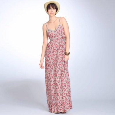 Robe longue à fines bretelles coton/viscose