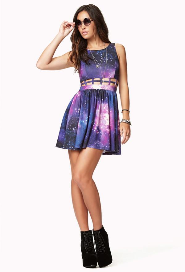 dress purple galaxy print cut-out
