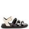 Triple-strap embellished leather sandals