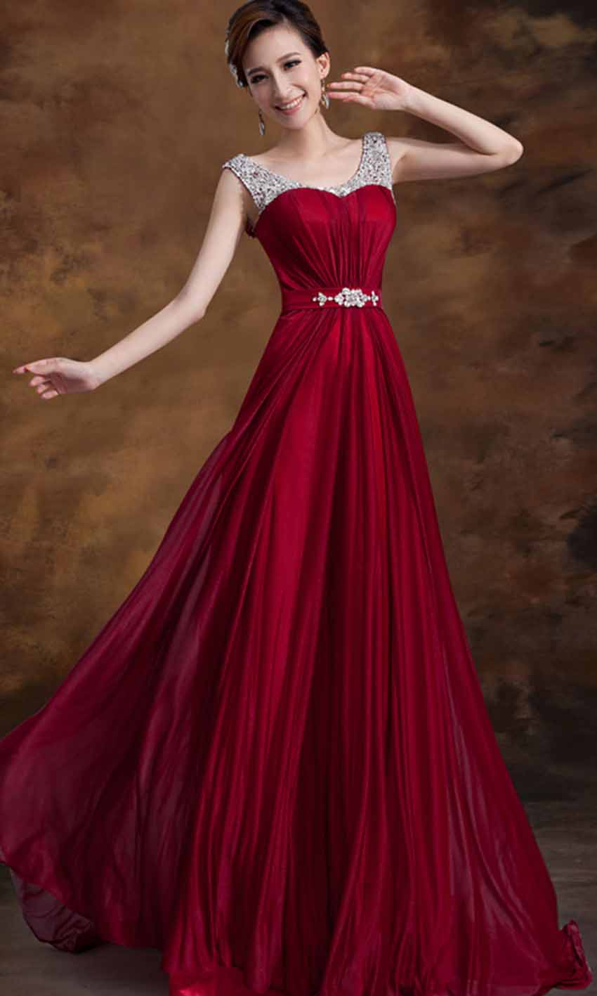 Wine Sequin Straps Long Prom Dresses 2015 KSP353 [KSP353] - £94.00 ...