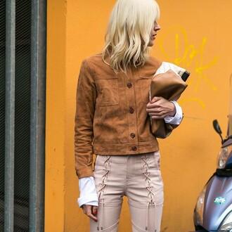 jacket suede blonde hair tumblr brown jacket suede jacket pants pink pants lace up lace up pants nude