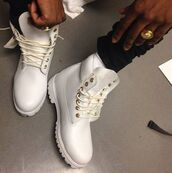 shoes,white,combat boots,timberland,timberlands,boots,a$ap rocky,white timberlands men,ASAP Rocky,gold,women,white timberlands,white and gold timberland boots.,white timberlands for men