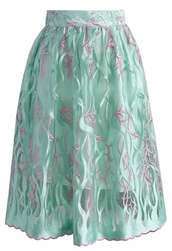 skirt,mesh skirt,ocean,green,midi skirt,embroidered
