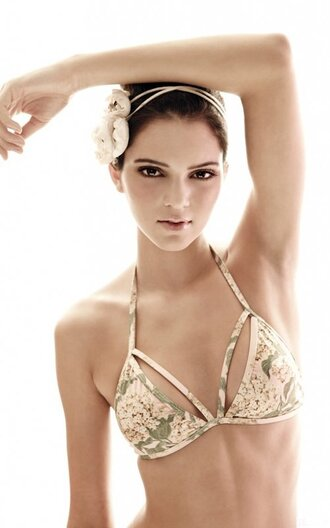 swimwear bikini top floral celebrity pink green model kendall jenner