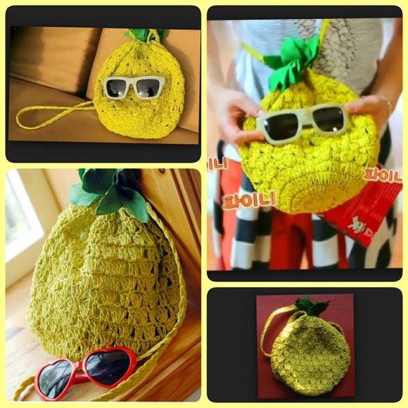 bag yellow handbag pineapple print shinee pinee