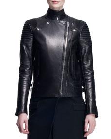 Wool/leather long moto coat