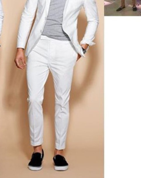 Pants: men's, crop pants, white, dressy - Wheretoget