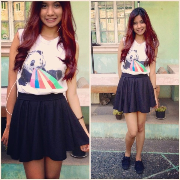 shirt printed shirt panda rainbow black skirt black skater skirt block oxfords oxfords