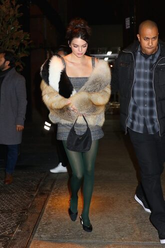 dress mini dress tights fur fur jacket kendall jenner kardashians model off-duty ny fashion week 2018 fashion week