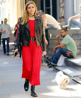 shoes pleated dress pleated red dress midi dress jacket blogger fall outfits olivia palermo choker necklace