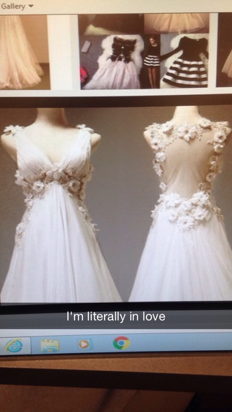 dress flows open back and white with flowers a