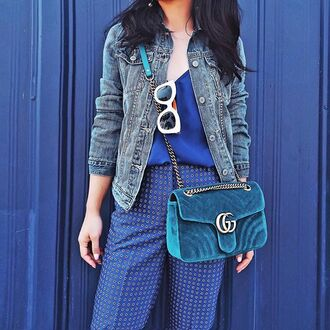 bag tumblr teal gucci gucci bag chain bag denim jacket jacket blue jacket sunglasses white sunglasses pants blue pants printed pants top blue top velvet bag quilted bag velvet royal blue