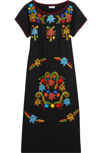 dress midi dress embroidered midi cotton black