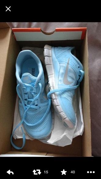 shoes blue shoes nike running shoes nike free run light blue