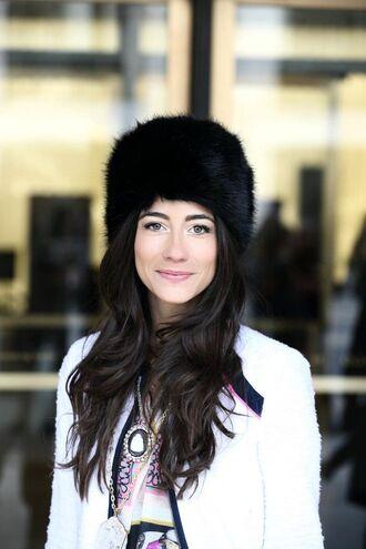 hat black fur hat black hat fur hat coat brunette long hair white coat tumblr