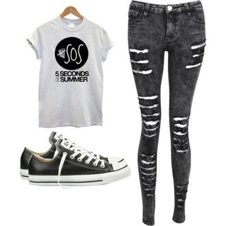 t-shirt 5sos top 5 seconds of summer jeans ash ashton irwin