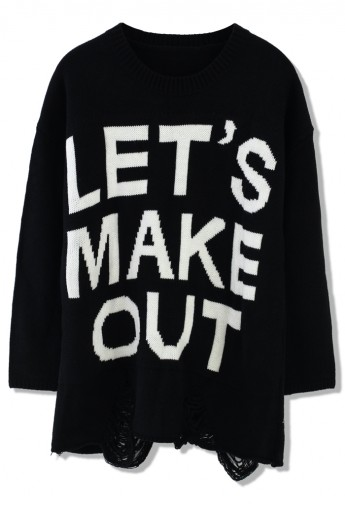 Let's Make Out Shredded Black Sweater - Retro, Indie and Unique Fashion