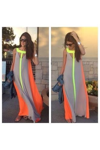 dress neon colors dress neon neutre long