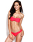Watermelon red twist bandeau top with ruched side bottom bikini
