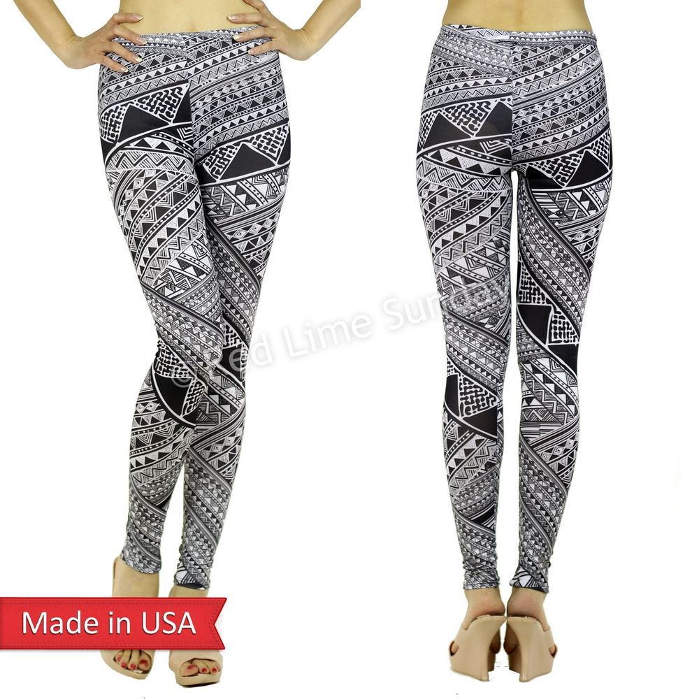 Classy Black White Aztec Tribal Ethnic Pattern Print Leggings Tights Pants USA