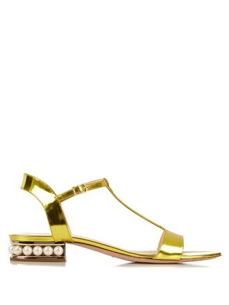 pearl sandals suede gold shoes