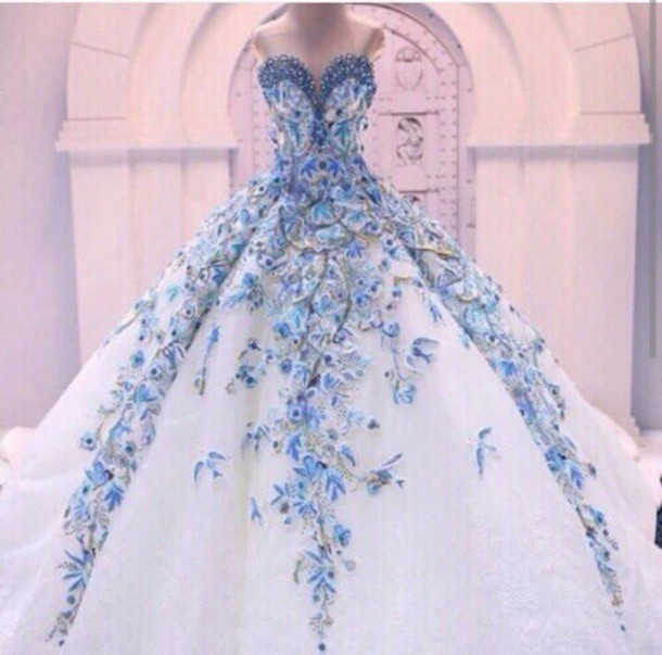 Dress Ball Gown Dress Prom Dress Prom Gown White Dress Blue