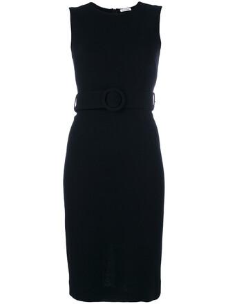 dress belted dress women spandex black wool