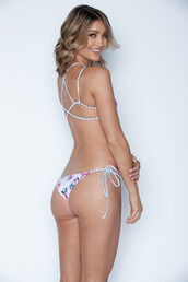 swimwear,bikini bottoms,floral,skimpy,string bikini,stripes,tie side bottom,frankies bikini,bikiniluxe