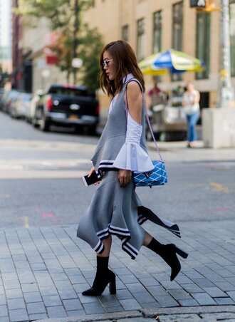 skirt asymmetrical asymmetrical skirt top blouse grey streetstyle ny fashion week 2016 fall outfits