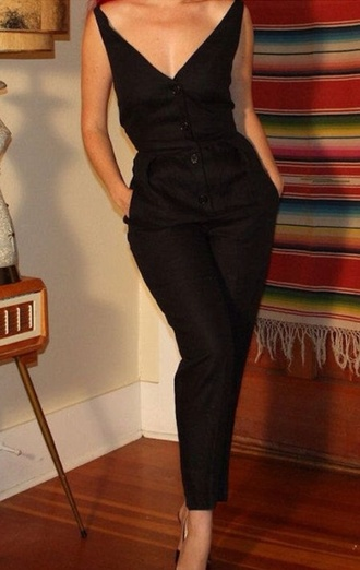 jumpsuit black jumpsuit 50s style off the shoulder skin tight