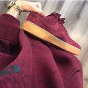 shoes,nike,maroon shoes,bordeaux red wine,nike shoes,suede sneakers,burgundy,shirt,red,suedenike air force 1s,burgandy shoes,nike shoes trainers purple  maroon,nike air force,brown fabric,nike air force 1
