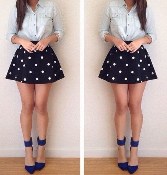 shoes skirt blouse cute polka dot skirt polka dots white and blue