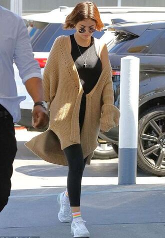 cardigan leggings top selena gomez sneakers streetstyle casual celebrity spring outfits