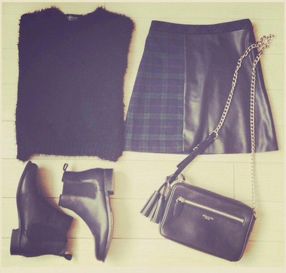 skirt tartan skirt checked skirt sweater boots black fluffy sweater shoes black leather skirt fluffy sweater