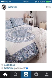 home accessory,bedding,urban outfitters,beach house,blue and white,boho,boho decor,bedroom,mandala,hippie,boho chic,lelaan sheet sets,lelaan,hipster,boho bedding,tumblr,home decor,home furniture,indie,hippie chic,tumblr bedroom,teen bedrooms,blue,white,summer,white bedding,bohemian bedding,instagram,classy,pretty,beach,beautiful,throw blanket,chic,bedsheets,bedspread and pillows